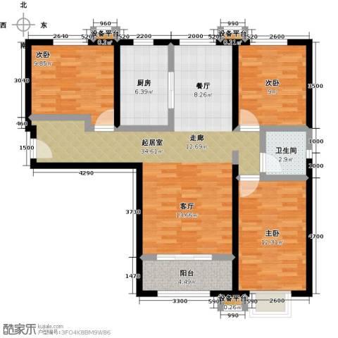 上上城理想新城3室0厅1卫1厨118.00㎡户型图