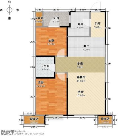 抚顺万达广场2室1厅1卫1厨96.00㎡户型图