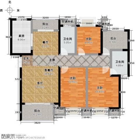 天鸿・尹山湖韵佳苑3室1厅2卫1厨164.00㎡户型图