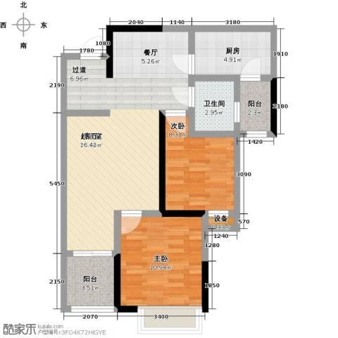 长欣中央广场2室0厅1卫1厨91.00㎡户型图