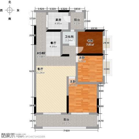 长欣中央广场3室0厅1卫1厨129.00㎡户型图