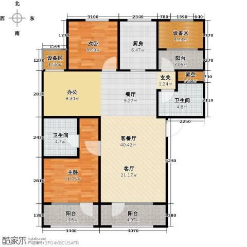 枫丹壹�2室1厅2卫1厨130.00㎡户型图