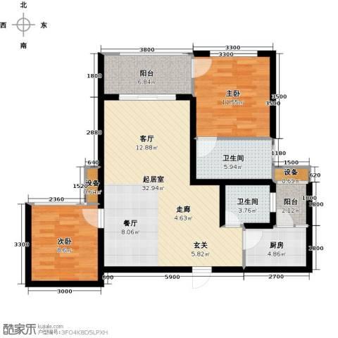 三江国际丽城C区.澜岸2室0厅2卫1厨100.00㎡户型图