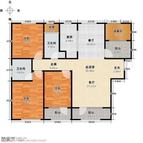 枫丹壹�3室0厅2卫1厨150.00㎡户型图