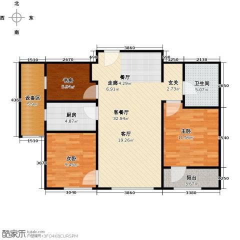枫丹壹�3室1厅1卫1厨95.00㎡户型图