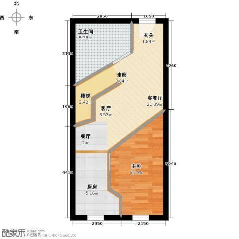 汇雄时代1室1厅1卫0厨53.00㎡户型图