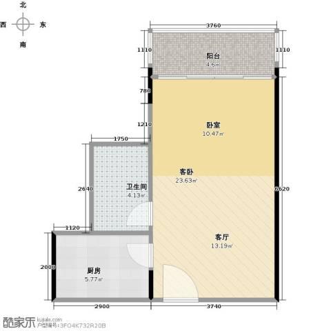 晶地可乐1室0厅1卫1厨40.00㎡户型图