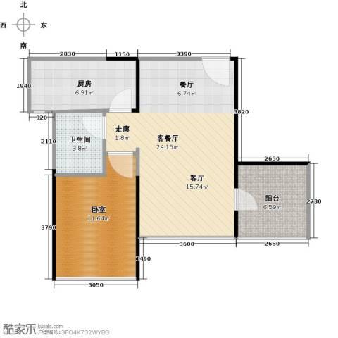 晶地可乐1厅1卫1厨57.00㎡户型图