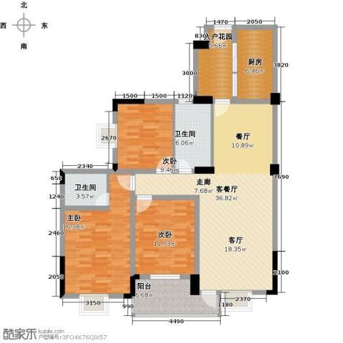 城投幸福家园3室1厅2卫1厨129.00㎡户型图