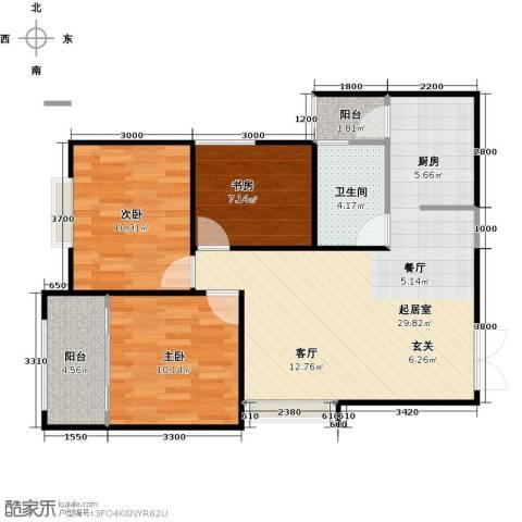 高新百悦城3室0厅1卫0厨91.00㎡户型图