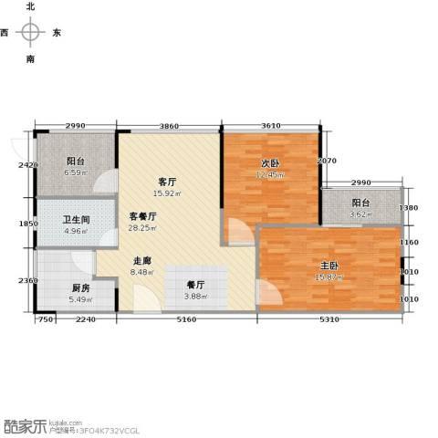晶地可乐2室1厅1卫1厨83.00㎡户型图