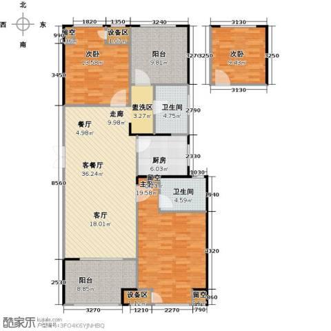 百大康桥3室1厅2卫1厨116.04㎡户型图