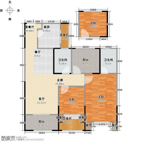 路劲城市主场3室1厅2卫1厨111.66㎡户型图