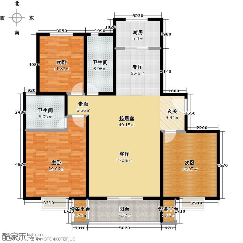 杰辉・枫景华庭户型3室2卫1厨