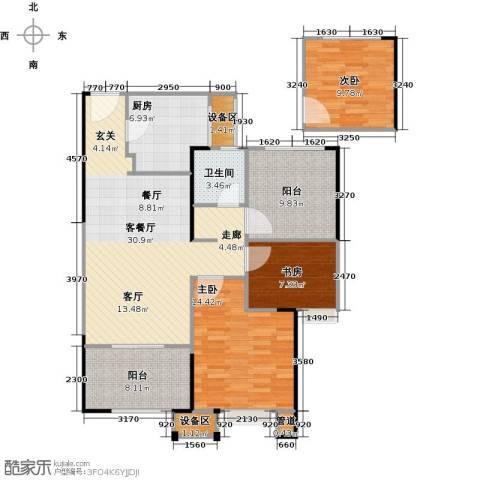 路劲城市主场3室1厅1卫1厨93.74㎡户型图