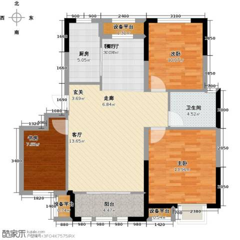 保利罗兰公馆3室1厅1卫1厨105.00㎡户型图