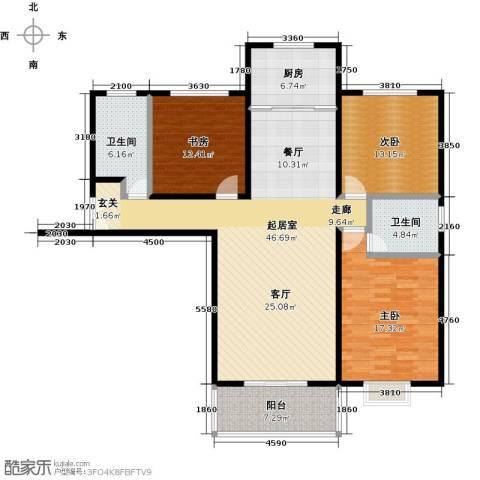 杰辉・枫景华庭3室0厅2卫1厨160.00㎡户型图