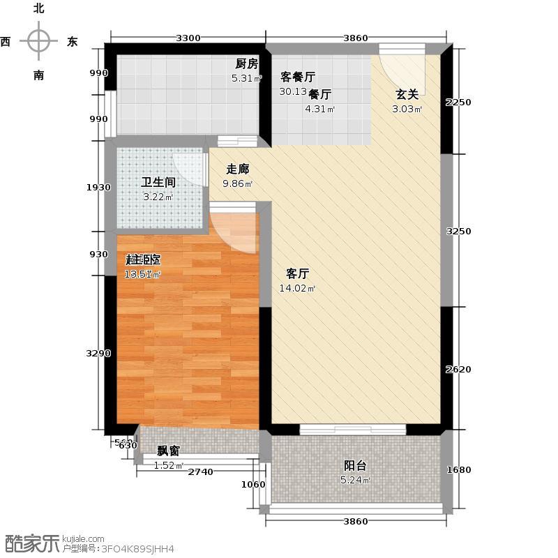 置地・御海公馆66.41㎡C栋d户型1室2厅1卫