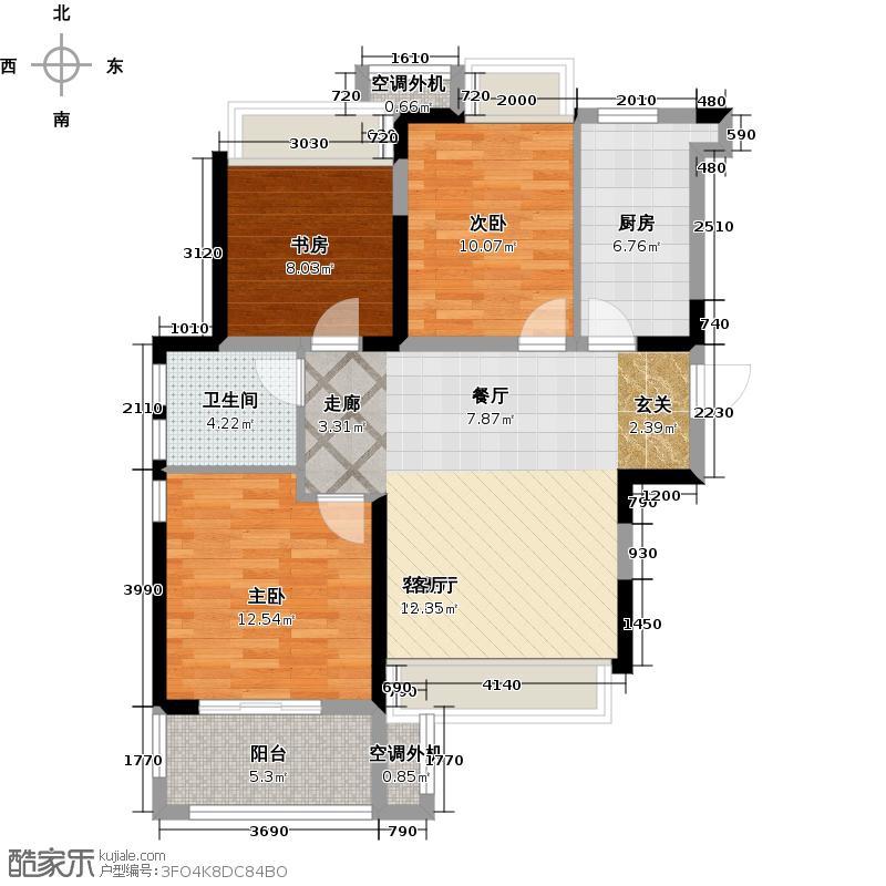 荣盛花语馨苑88.73㎡88.73平米的三居室户型3室2厅1卫