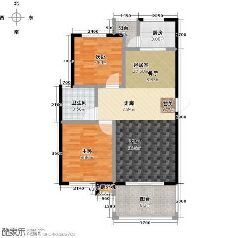 海南大溪地住宅小区2室0厅1卫1厨78.00㎡户型图