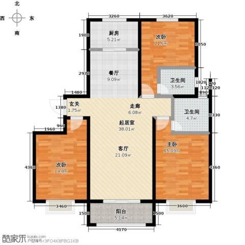 杰辉・枫景华庭3室0厅2卫1厨138.00㎡户型图