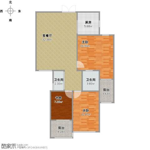 锦绣大地城3室1厅2卫1厨119.00㎡户型图