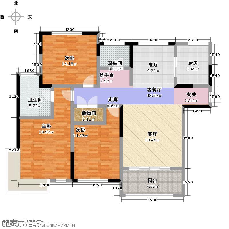金域香颂133.00㎡3房2厅2卫户型3室2厅2卫-副本