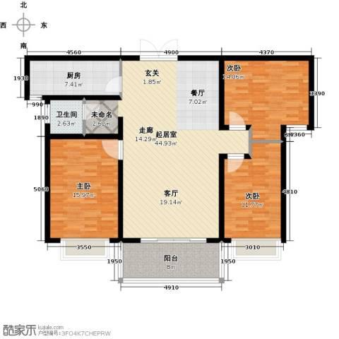 君廷湖畔3室0厅1卫1厨148.00㎡户型图