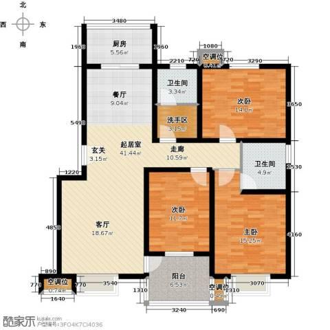 万豪绿城3室0厅2卫1厨124.00㎡户型图