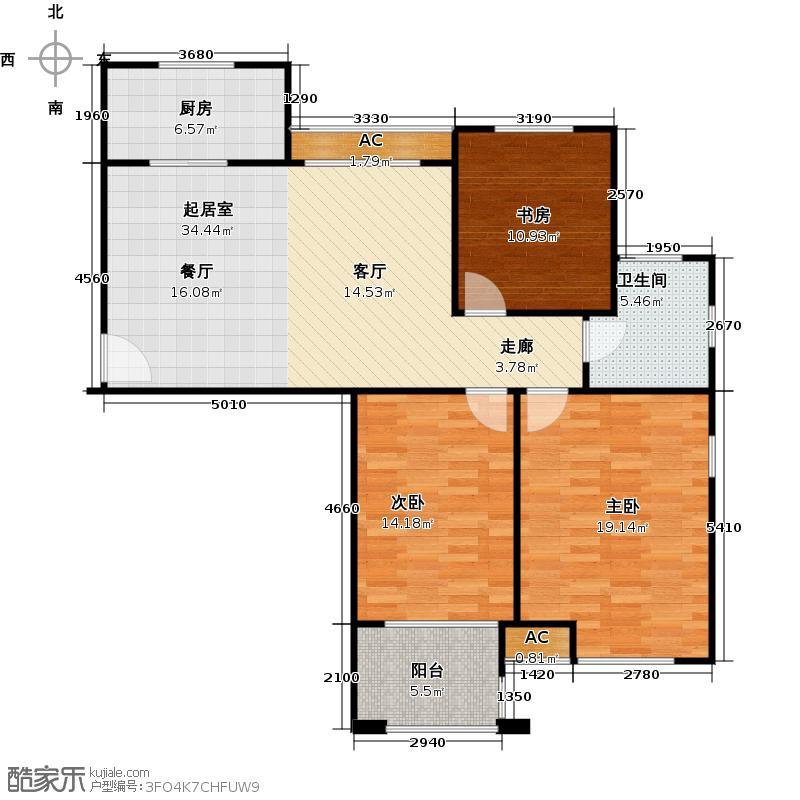 金山福地二期106.00㎡三室二厅一卫面积:99-106平方米户型3室2厅1卫