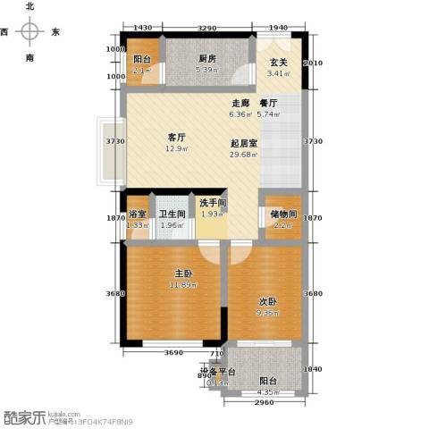 招商・卡达凯斯2室0厅1卫1厨101.00㎡户型图