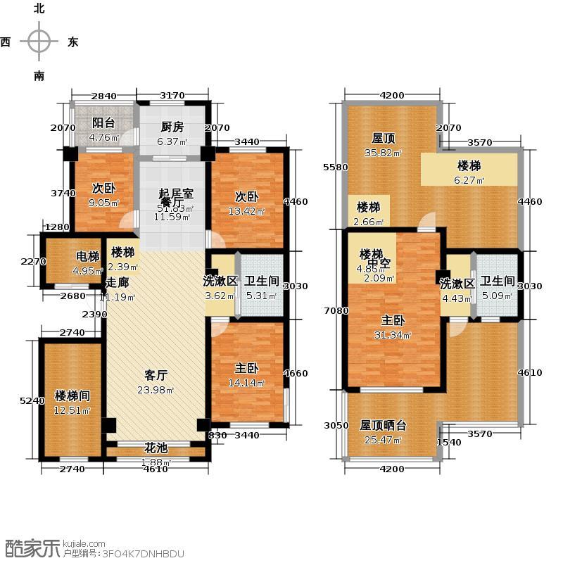 天山雅南高第户型4室2卫1厨