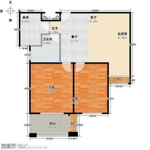 金山福地二期2室0厅1卫1厨89.00㎡户型图