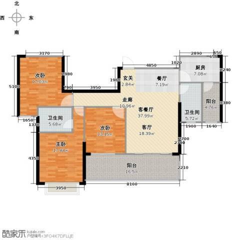 御水湾3室1厅2卫1厨137.00㎡户型图