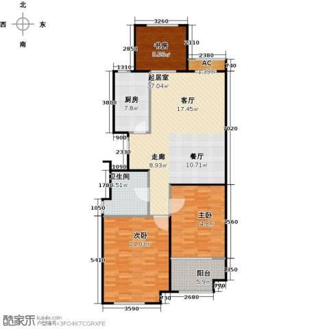 金山福地二期3室0厅1卫1厨110.00㎡户型图