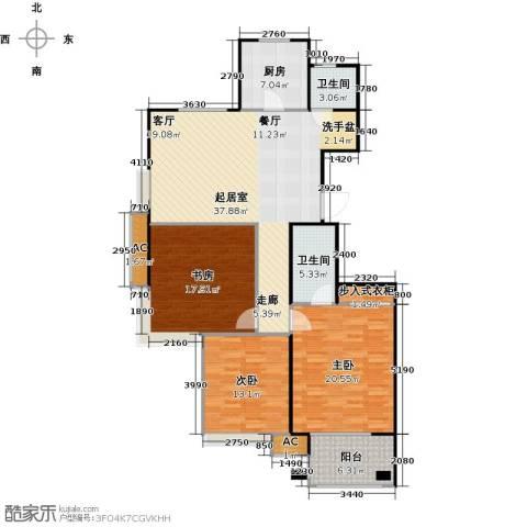 金山福地二期3室0厅2卫1厨124.00㎡户型图