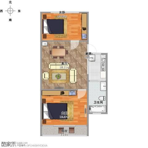 紫金观巷小区2室1厅1卫1厨72.00㎡户型图