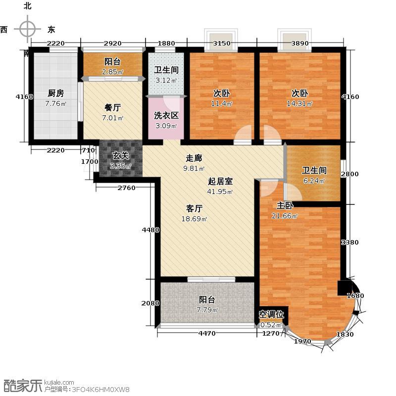 君廷湖畔135.00㎡君廷湖畔17号楼A1户型3室2厅2卫1厨135.00㎡户型3室2厅2卫