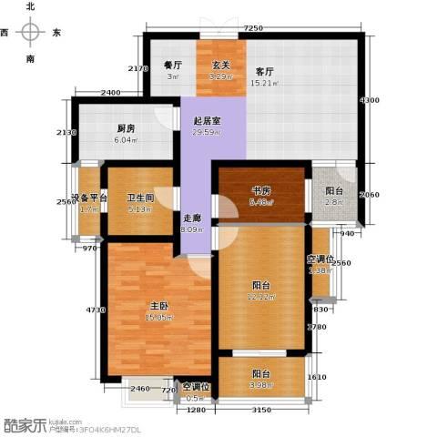 君廷湖畔2室0厅1卫1厨98.00㎡户型图