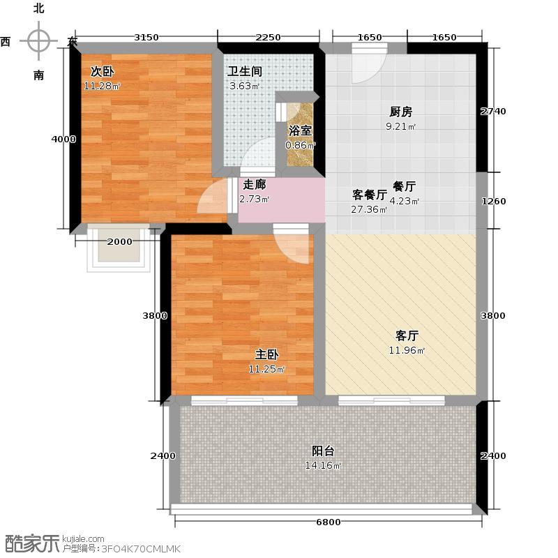 雅居乐海南月亮湾91.00㎡洋房C户型两房一厅一厨一卫户型2室1厅1卫