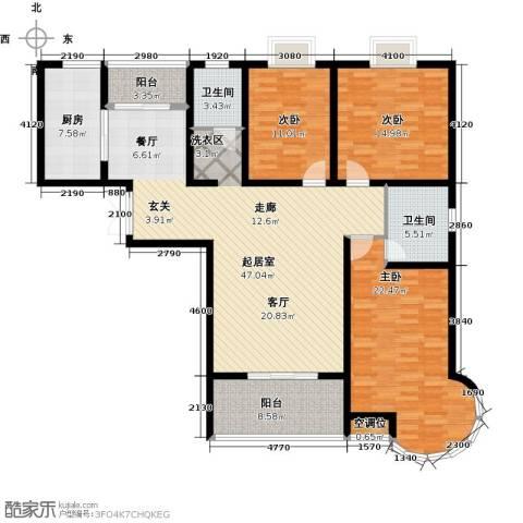 君廷湖畔3室0厅2卫1厨178.00㎡户型图