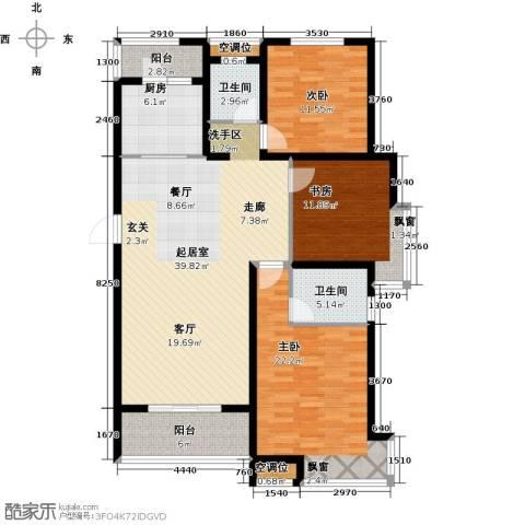 绿地高铁东城3室0厅2卫1厨120.00㎡户型图