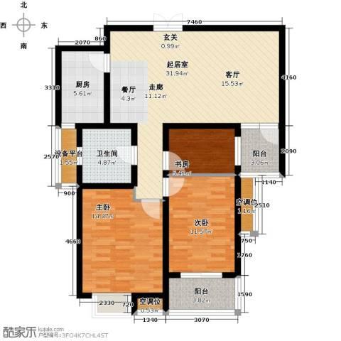 君廷湖畔3室0厅1卫1厨98.00㎡户型图
