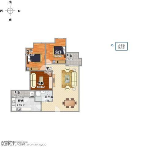 香樟1号3室1厅1卫1厨104.00㎡户型图