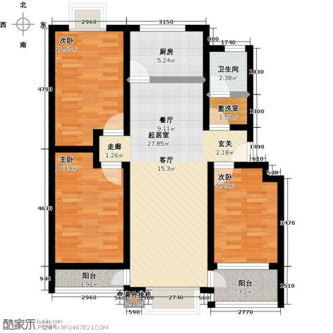 昊海花园3室0厅1卫1厨83.00㎡户型图