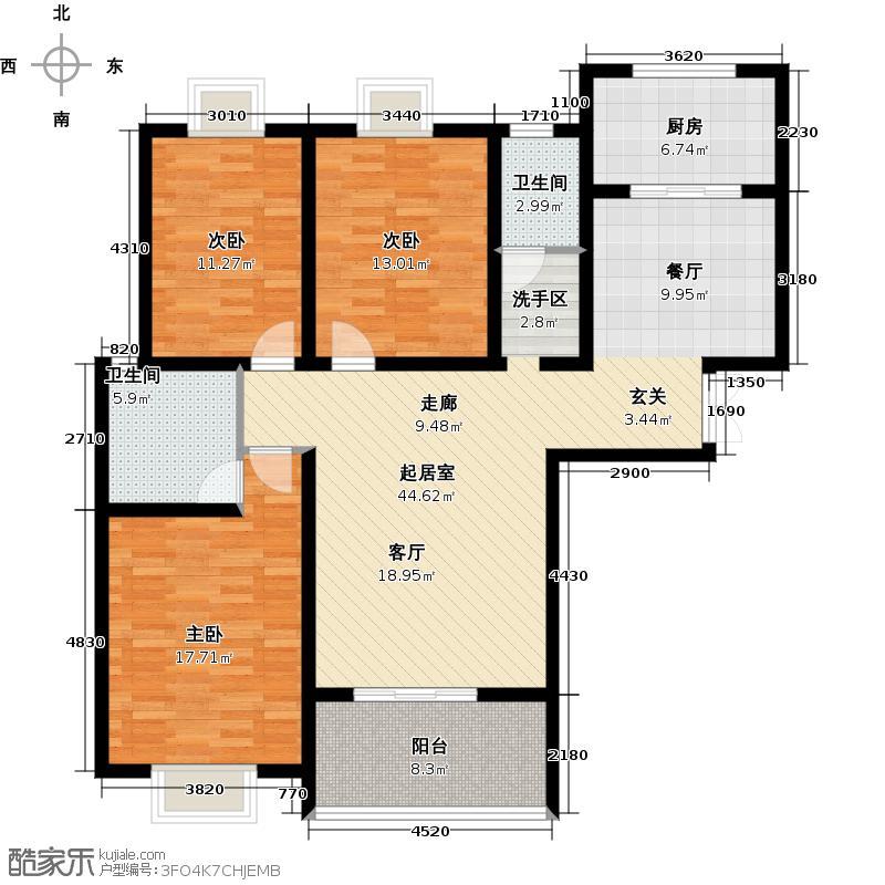 君廷湖畔126.00㎡君廷湖畔17号楼A3户型3室2厅2卫1厨126.00㎡户型3室2厅2卫