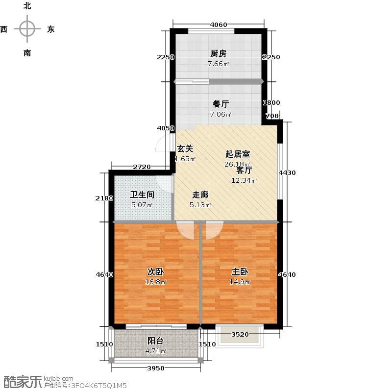银枫家园84.00㎡两室一厅一卫户型2室1厅1卫