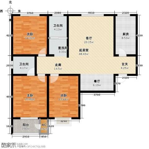 久新名苑3室0厅2卫1厨158.00㎡户型图