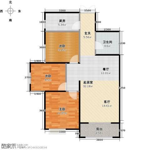 高新百悦城3室0厅1卫1厨89.00㎡户型图