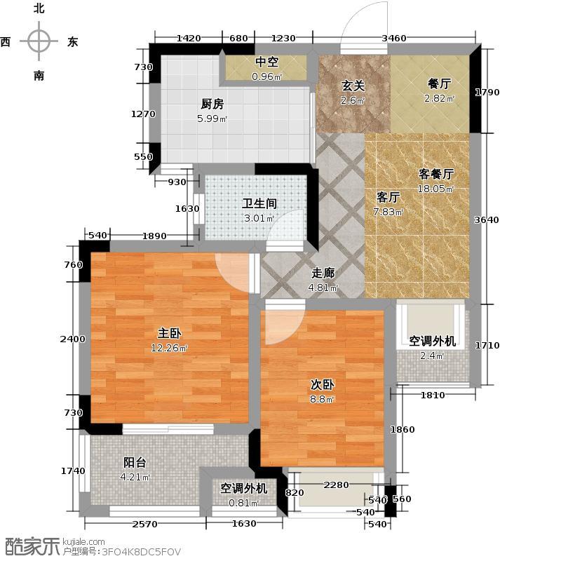 荣盛花语馨苑户型2室1厅1卫1厨